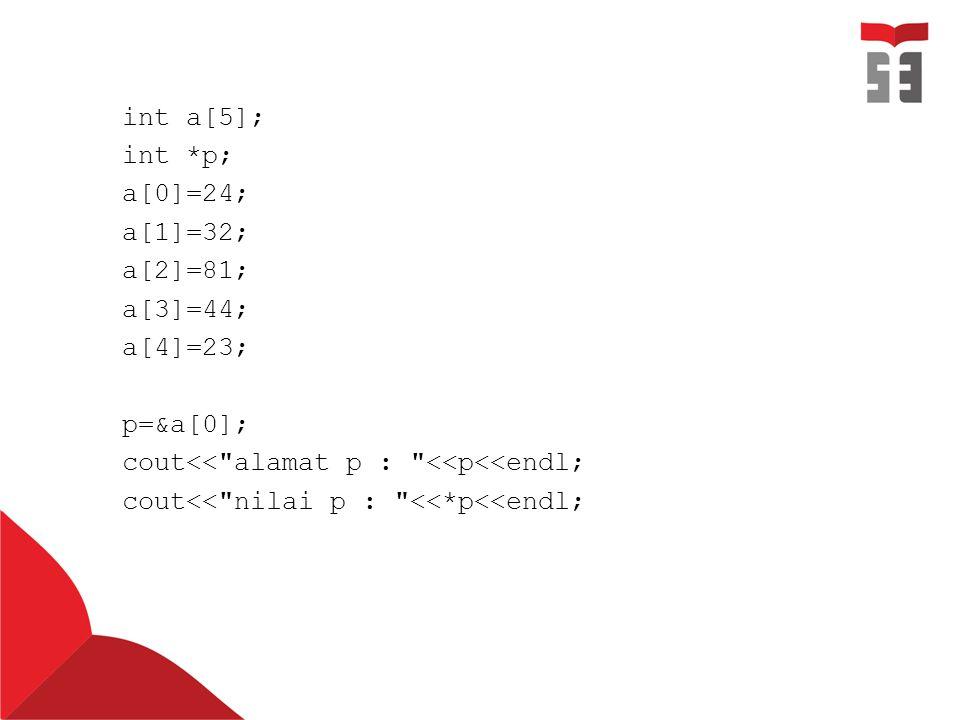 int a[5]; int *p; a[0]=24; a[1]=32; a[2]=81; a[3]=44; a[4]=23; p=&a[0]; cout<< alamat p : <<p<<endl; cout<< nilai p : <<*p<<endl;